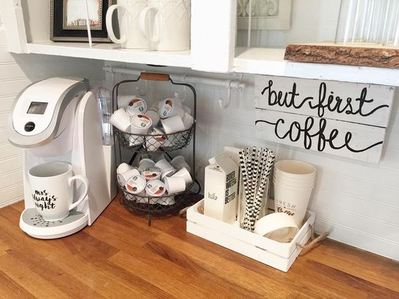 Organizing doesn't always happen behind closed doors. This coffee bar is a great example of something we would want to keep out on the counter because we'd use it every day. Everything is still in its place, and it's creates a happy little organized vignette as well!