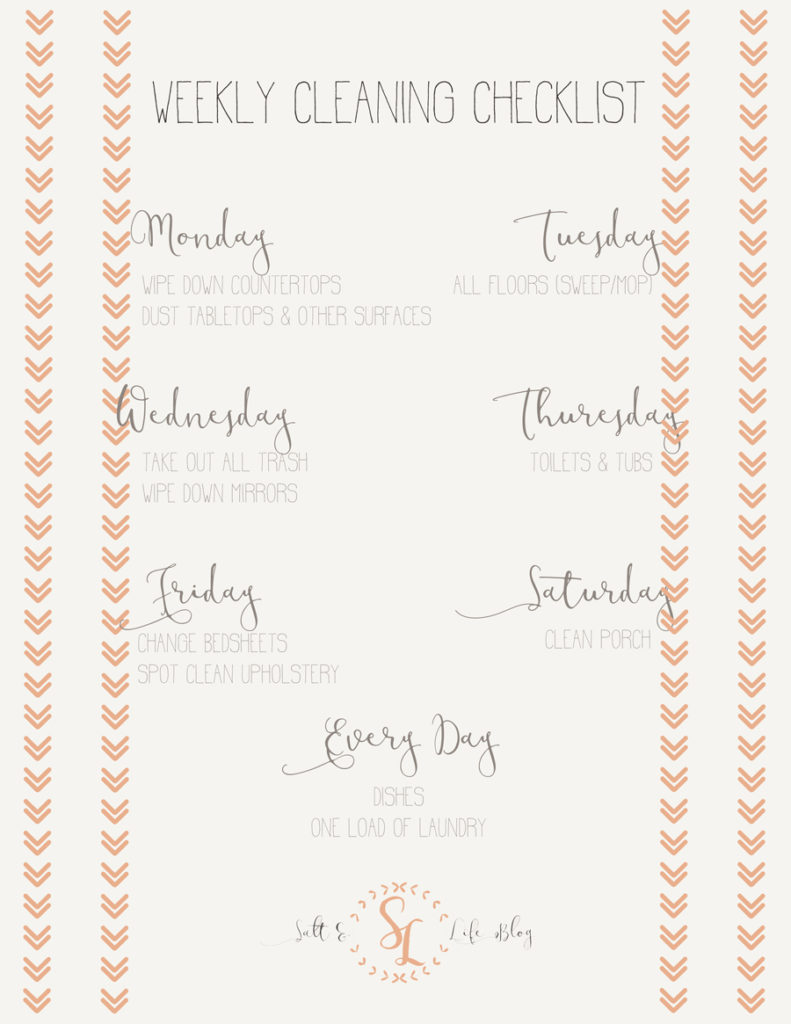 Salt & Life Blog: Weekly Cleaning Checklist