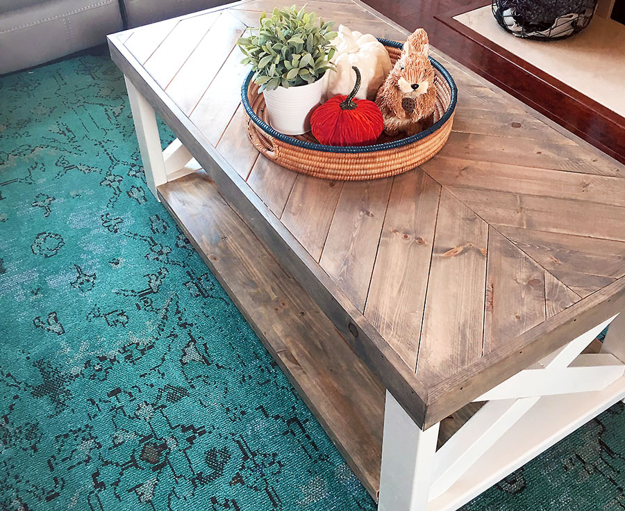 The Look For Less Farmhouse Herringbone Coffee Table